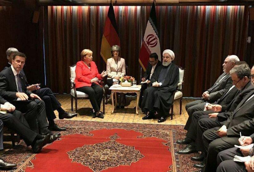 فیلم ، مرکل و رئیس جمهور روحانی در نیویورک دیدار کردند