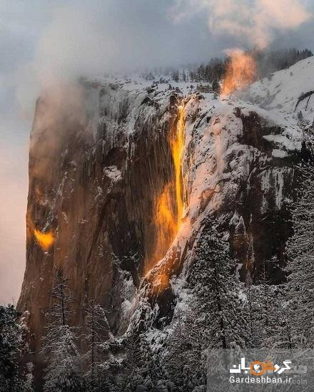 آبشاری عجیب به رنگ آتش در کالیفرنیا